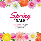 Spring sale poster template with colorful flower background.Can Stock Image