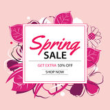 Spring sale poster template with flower background. Stock Photos