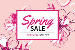 Spring sale poster template with flower background. Royalty Free Stock Image