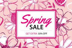 Spring sale poster template with flower background. Royalty Free Stock Images
