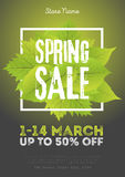 Spring sale poster template with leaves and frame in green black background. Vector illustration Royalty Free Stock Image
