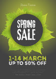 Spring sale poster template with leaves and frame in green black background. Vector illustration Stock Image