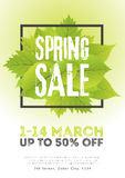Spring sale poster template with leaves and frame in green white background. Vector illustration Royalty Free Stock Photo
