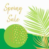 Spring sale poster vector template gold stock illustration