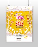 Spring Sale poster at wall Stock Photos