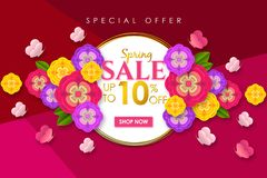 Spring sale Promotional banner background with colorful flower and butterfly for Special spring offer 10% off. Can be used for template, banners, flyers stock illustration