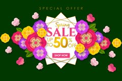 Spring sale Promotional banner background with colorful flower and butterfly for Special spring offer 50% off. Can be used for template, banners, flyers stock illustration