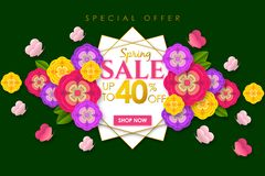 Spring sale Promotional banner background with colorful flower and butterfly for Special spring offer 40% off. Can be used for template, banners, flyers royalty free illustration