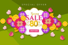 Spring sale Promotional banner background with colorful flower and butterfly for Special spring offer 80% off. Can be used for template, banners, flyers royalty free illustration