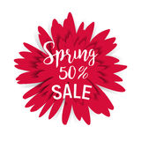 Spring sale 50 with red flower. And shadow Stock Illustration