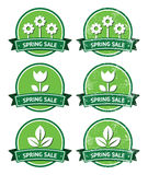 Spring sale retro green round labels - grunge style. Seasonal sales vintage old scratched badges Stock Photo