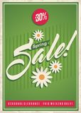 Spring sale retro poster design template. Discount offer promotional advertise, banner, flyer or ad layout with creative typography and daisy flowers royalty free illustration