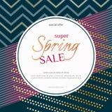 Spring sale round banner on elegant dark luxury background with golden zigzag lines specks Banner design element for discounts. Spring sale round banner on vector illustration
