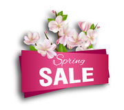 Spring sale .Season discount banner design with cherry blossoms and petals. Stock Photo