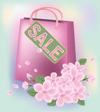 Spring sale shopping bag Stock Photography