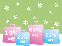 Spring Sale Shopping Bags Stock Photo