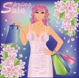 Spring sale shopping girl. Vector illustration Stock Photography