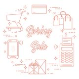 Spring sale. Shopping icons. Shopping cart, payment terminal, bank card, packages, boxes, phone. Spring sale. Shopping icons Royalty Free Stock Image