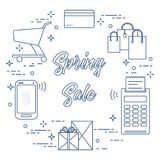 Spring sale. Shopping icons. Shopping cart, payment terminal, bank card, packages, boxes, phone. Spring sale. Shopping icons Stock Photo