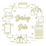 Spring sale. Shopping icons. Shopping cart, payment terminal, bank card, packages, boxes, phone. Spring sale. Shopping icons Royalty Free Stock Photography
