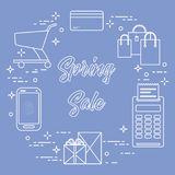 Spring sale. Shopping icons. Shopping cart, payment terminal, bank card, packages, boxes, phone. Spring sale. Shopping icons Stock Image