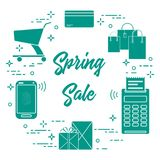 Spring sale. Shopping icons. Shopping cart, payment terminal, bank card, packages, boxes, phone. Spring sale. Shopping icons Stock Images