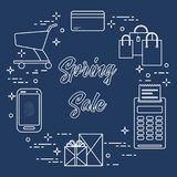 Spring sale. Shopping icons. Shopping cart, payment terminal, bank card, packages, boxes, phone. Spring sale. Shopping icons Stock Photos