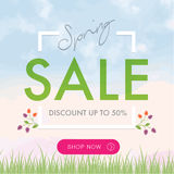 Spring Sale social network square banner. Spring sale social network banner. Discount, shop now Royalty Free Stock Photo