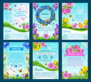 Spring sale and springtime holiday card template. Spring sale and springtime holiday card set. Spring flowers and green grass with bunny and chick, floral wreath Royalty Free Stock Image