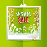 Spring Sale square label Stock Image