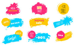 Spring Sale stains to label, discount, best price. Blots Vector set illustration in grunge style for stickers, badges. Stock Images