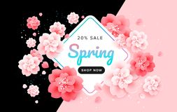 Spring sale stylish background banner with beautiful flowers - p. Ink and black vector Stock Image