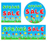 Spring sale stylized colorful banners Stock Photo