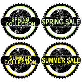 Spring sale and summer sale rubber stamps Royalty Free Stock Photo