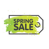 Spring sale tag concept in painted brush background. seasonal banner label template. Vector illustration Stock Images