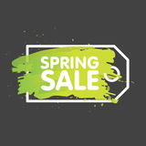 Spring sale tag concept in painted brush background. seasonal banner label template. Vector illustration Royalty Free Stock Images