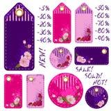 Spring sale tags with beautiful sakura flowers Stock Image