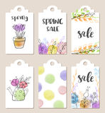 Spring sale tags. Set of hand drawn tags for spring sale with watercolor textures and flowers Royalty Free Stock Photography