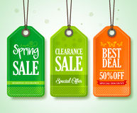 Spring Sale Tags Set for Seasonal Store Promotions Hanging Royalty Free Stock Photos