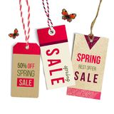 Spring sale tags. Vector illustration Stock Images