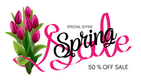 Spring sale template. Sale Poster, Sale Flyer, Sale Vector. Tv size banner. Vector clip art illustration. Royalty Free Stock Photography