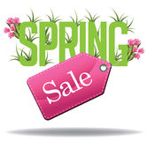 Spring Sale text design EPS 10 vector. Royalty free stock illustration for greeting card, ad, promotion, poster, flier, blog, article, ad, marketing, retail stock illustration