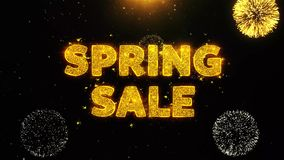 Spring sale Text on Firework Display Explosion Particles.