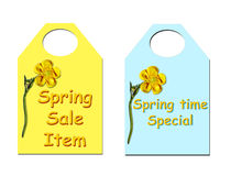 Spring Sale tickets. Sale tickets with a buttercup to show off your spring deals Royalty Free Stock Photography