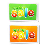 Spring sale in two flat design labels Stock Photography