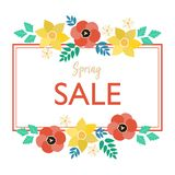 Spring sale typography poster with cute colorful flowers frame - tulip, narcissus, chamomile in flat style. Vector illustration for 8 March Woman`s Day sale vector illustration