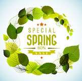 Spring sale vector background. Spring sale vector poster with fresh green leafs Royalty Free Stock Photos