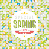 Spring sale vector background. Spring sale vector poster with retro pattern Royalty Free Stock Image