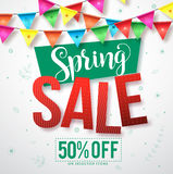 Spring sale vector banner with colorful streamers hanging Stock Photography