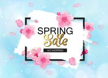 Spring sale vector banner design with flowers and frame. Cherry blossoms and blue sky background. Spring sale vector banner design with flowers and frame stock illustration